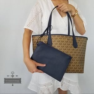 NWT Michael Kors Large Candy Reversible Tote Navy